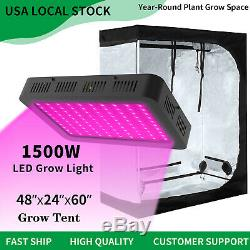 1500W Led Grow Light Veg Flower Plant Light + 4' x 2' Hydroponic Grow Tent Kit