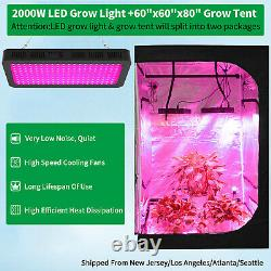2000W Led Grow Light Full Spectrum + 5' x 5' Hydroponics Grow Tent Kit Grow Box