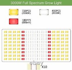 3000W Samsung LM301B LED+ Red 660nm Grow Light Full Spectrum for Indoor 4X4FT