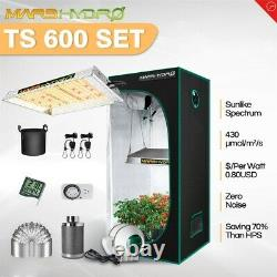 Mars Hydro TS 600W LED Grow Light+2'x2' Indoor Tent Carbon Filter Complete Kits